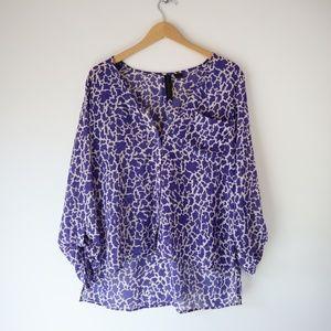 Modcloth Petticoat Alley Button Navy Giraffe Top L